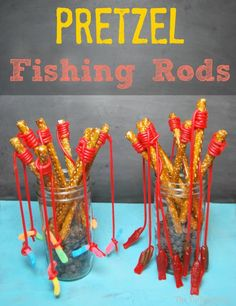 pretzel fishing rods-- this would be so cute for a baby shower or birthday party! First Birthday Parties, First Birthdays, Birthday Ideas, Toy Story Birthday, Toy Story Party, Bar A Bonbon, Preschool Snacks, Preschool Birthday Treats, Preschool Cooking