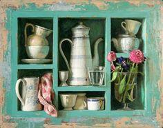 Kenne Paintings - 2014 - Groen kastje- 60 x 46 cm - acryl op paneel