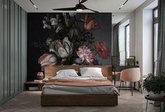 Dark Vintage Floral - Removable Wallpaper Hi everyone! I'm Sylvie! I am glad to present you my f Dark Wallpaper, Bedroom Wallpaper, Wallpaper Wallpapers, Wallpaper Ideas, Dark Walls, Dark Interiors, Interior Plants, Luxurious Bedrooms, Luxury Bedrooms