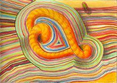 """fireworm"", drawing on paper, 21 x 15 cm, ©matthias hennig 2013  #drawing #artwork #matthias #hennig #color  www.matthiashennig.de"