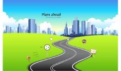 Ideal Prezi Template to illustrate business journey, plan, ideas for your company or start-up pitch.  A road heading to a distant and modern city , illustrating a road to success.  Add your content inside the road signs or zoom anywhere else in the Prezi.