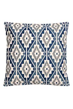 Patterned cushion cover - Dark blue/Natural white - Home All | H&M GB 1