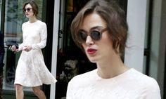Keira Knightley steps out in a chic bridal-inspired dress