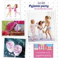 Kits anniversaire et kits fêtes Pyjama Party Fille, Pyjamas Party, Pajamas, Organiser Une Baby Shower, Carton Invitation, Party Activities, Kit, Sleepover, Projects To Try
