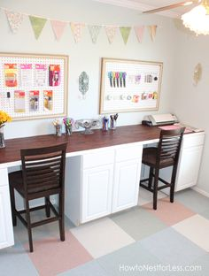 Find out how I created a craft room desk in my craft room! I was able to make a budget-friendly craft room desk by using pre-made cabinets. Craft Room Desk, Diy Desk, Craft Rooms, Room Desks, Space Crafts, Home Crafts, Craft Space, Kids Study, Study Space
