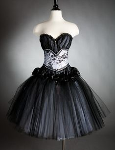 Custom size black and white tulle Burlesque Corset by Glamtastik, $275.00 - I would wear this out and about- Love the elegance.