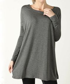 This Heather Gray Boatneck Tunic - Women is perfect! #zulilyfinds