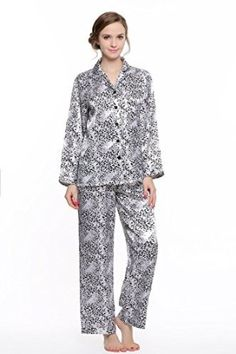 Women's Long Sleeve Premium Satin Pajama Set Fabric:Silky satin, 100% polyester Wash in cool water with like colors. Dry on low heat only. Made from premium satin fabric for a silk-like experience Button front top & elastic waist pj pants Premium silk like fabric. Check back often for new colors & prints  Price:$27.99