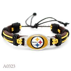 Please Share This Offer Pittsburgh Steelers Leather Cuff Bracelet This fantastic Leather cuff bracelet is designed and handmade with heart and soul. It is fastened together by an adjustable knot makin