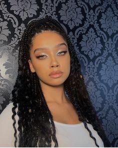 Makeup Eye Looks, Beauty Makeup, Hair Makeup, Hair Beauty, Black Girl Makeup, Girls Makeup, Natural Glowy Makeup, Light Skin Girls, Braids For Black Hair