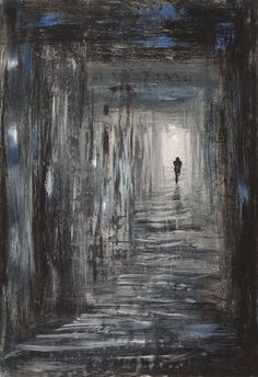 This is dark but pretty cool. I like how the artist created a long hall without painting any definite lines.