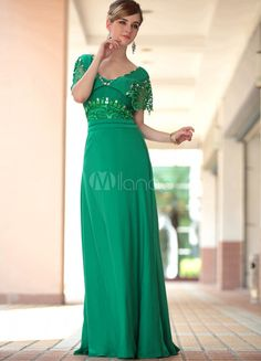 Vestido de Prom de satén verde con escote en V de manga corta de estilo clásico