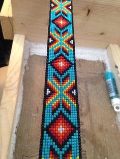 Beaded for a headstall! Love the bright colors and pattern!  3G Horses