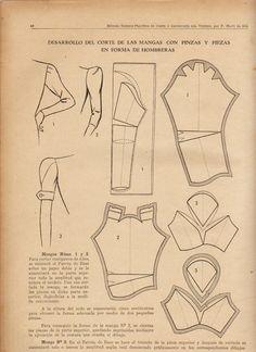 explicación y demostración del corte de las mangas con piezas  en forma de hombreras