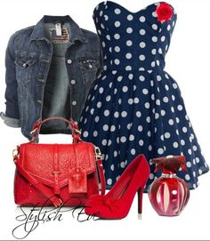 0ec9f1d5784 This Outfit Is Suitable For Winter Colors - Navy Blue Red Pin Up Fashion