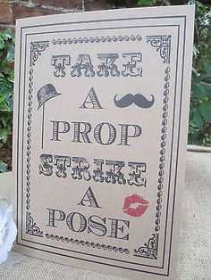Strike a Pose Photo Booth Sign A4 Size Poster Shabby Chic Kraft Recycled Card
