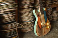 Guitars Made From Used Skateboard Decks