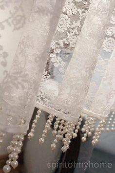 ESTÉE' Rare Romantical French Net Lace Valance with beaded