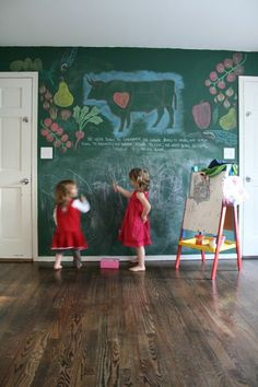 love the chalkboard wall for a playroom idea.  Green or black...
