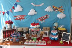 Amazing dessert table at a airplane birthday party! See more party planning ideas at CatchMyParty.com!