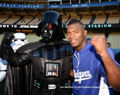 The force was strong with Yasiel Puig last night.  He recorded two singles and a double; while driving in two runs and scoring once.  Unfortunately, a bad outing by reliever Jamey Wright turned last nights celebratory Star Wars evening into a rerun of the Star Wars Holiday Special.  Photo above via Jon SooHoo/LA Dodgers 2014.