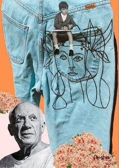 Làmina Als ulls del mestre de Comboi de Tarongina porta fixats uns pantalons de segona mà pintats per Comboi de Tarongina amb motius florals i el semblant de l'autor del dibuix dels pantalons, el mestre Pablo Picasso. L'havies reconegut? I has vist què porta el xiquet a la mà? Men, Author, Guys