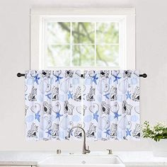 seashell valance curtains for bathroom Tie Up Curtains, Bathroom Window Curtains, Plaid Curtains, Country Curtains, Cafe Curtains, Velvet Curtains, Custom Curtains, Kitchen Curtains, Valance Window Treatments