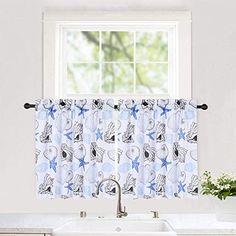 seashell valance curtains for bathroom Tie Up Curtains, Bathroom Window Curtains, Country Curtains, Velvet Curtains, Window Drapes, Cafe Curtains, Custom Curtains, Kitchen Curtains, Valance Window Treatments
