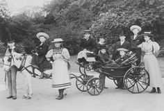 Left to right: Prince Arthur of Connaught; P. Leopold of Battenberg, on donkey; Pss Alice of Albany; Pss Patricia of Connaught; Pss Victoria Eugénie and P. Maurice of Battenberg in carriage; P. Alexander of Battenberg; Pss Marg.of Connaught