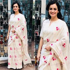 Buy this Dia Mirza Vintage White Colored Georgette Embroidered Celebrity Saree Online for upcoming festive seasons at affordable rates from daarce fashion - India's growing online shopping website for ladies. Bollywood Designer Sarees, Bollywood Fashion, Bollywood Sarees Online, Indian Sarees Online, Buy Sarees Online, Saree Blouse Neck Designs, Blouse Patterns, Indian Dresses, Indian Outfits