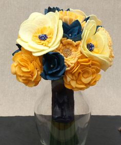 Yellow and Navy bridal bouquet. Hand painted and beaded felt flower alternative bouquet. Available at Paint the Meadow on Etsy.
