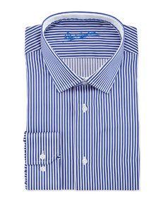 Andy Pinstripe Dress Shirt, Navy