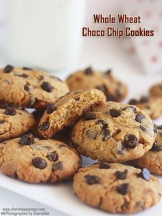 eggless whole wheat choco chip cookies recipe using jaggery as sweetner.eggless choco chip cookies recipe usong whole wheat flour. Eggless Cookie Recipes, Eggless Desserts, Eggless Baking, Chip Cookie Recipe, Biscuit Recipe, Baking Recipes, Snack Recipes, Dessert Recipes, Atta Biscuits Recipe