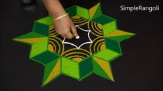 Navaratri Day 6 Special Green Kolam Designs | Simple Rangoli Designs With 7x4 dots | Latest Rangaval Beautiful Rangoli Designs, Kolam Designs, Diwali Special Rangoli Design, Simple Rangoli, Simple Designs, Dots, Make It Yourself, Green, Color
