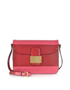 Valentino Deep Rose Colorblock Leather Shoulder Bag at FORZIERI