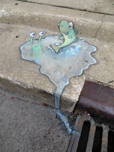 Surprising depth - Stormdrain at the Ann Arbor Green Fair - David Zinn