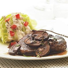 Healthy Recipes For Dinner: Beef Tenderloin with Red Wine Mushroom Sauce