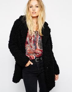 Pepe Jeans Faux Fluffy Coat    eeehhh looks exactly like my topshop fury coat=.=
