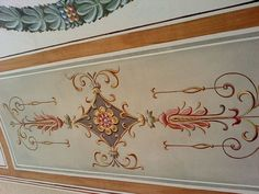 Ornament panel from a barrel vault ceiling painted in the Italianate grotesque style- Jeff Huckaby Studio