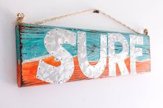Custom Funky Surf Sign Turquoise Orange Waves Metal Letters Beach Sign Distressed Wood Surfer Boy Girl Coastal Surf Nursery Baby Kids Party