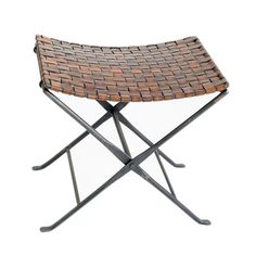 saddle leather woven stool