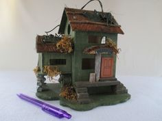 Birdhouse Vintage Decorative Bed and Breakfast Feathered Friends Bird House Green Gray Brown Orange Patio Yard Deck Garden Art (25.00 USD) by HobbitHouse