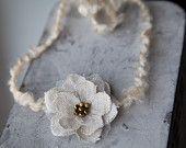 Ivory Yarn Tieback Headband with Linen Flower - Newborn Photo Prop