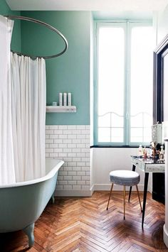 Bathroom Furniture : Bathroom with mint green walls, subway tiles and a freestanding tub -Read More –