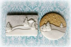 love the layers on these winter scene cookies by Small Things Iced