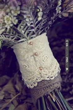 Vintage lace, from your mother or grandmother's wedding dress over burlap
