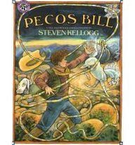 Pecos Bill: A Tall Tale by Steven Kellogg.  A charming retelling of the incredibly tall tale of Pecos Bill.  Follow Bill's Texas adventures as he is raised by coyotes, tames giant rattlesnakes, lassos tornadoes and becomes one of the greatest folk tale cowboys ever!  Provides a good introduction to American mythology.  Grade Level:  2.  Reading Level:  N.  Craft: Descriptive language, use of dialogue explores regional dialect and compares, contrasts with written text.