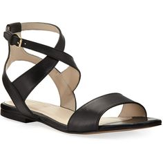 Cole Haan Fenley Grand Ankle-Wrap Flat Sandal (€140) ❤ liked on Polyvore featuring shoes, sandals, black, flat sandals, black ankle strap sandals, black flats, black flat shoes and ankle wrap flats