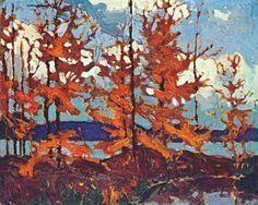 Tamaracks by Tom Thomson Group Of Seven Artists, Group Of Seven Paintings, Canadian Painters, Canadian Artists, Abstract Landscape, Landscape Paintings, Landscapes, Tree Paintings, Abstract Paintings