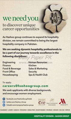 - Unique Career Opportunities in Hospitality Division of Hashoo Group for Major Cities of Pakistan - Published in The News Career Options, Career Opportunities, We Need You, Hospitality, Division, Pakistan, Opportunity, Cities, How To Apply